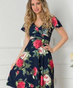 Rochie Amelia bleumarin cu imprimeu floral rosu