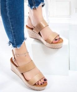 Sandale cu platforma dama bej Malove