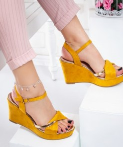 Sandale dama cu platforma galbene Yulisa
