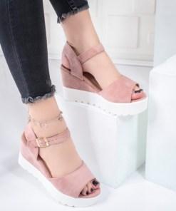 Sandale dama cu platforma roz Carey