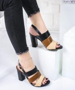 Sandale dama cu toc negri cu maro Radisa
