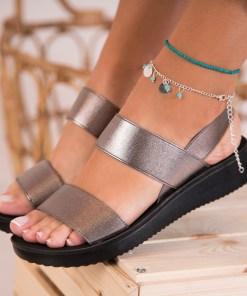 Sandale Dama fara Toc Textil Bronz Izara B8294