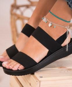 Sandale Dama fara Toc Textil Negre Izara3 B8299
