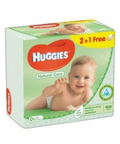 Set servetele umede Huggies Natural Care cu aloe Triplo 2+1, 56 buc x 3