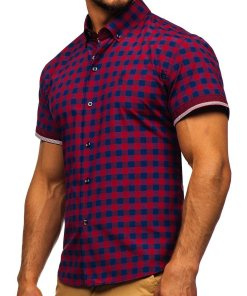 Camasa pentru barbat in carouri cu maneca scurta rosie Bolf 4508