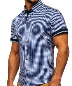 Camasa barbati in carouri cu maneca scurta albastru-aprins Bolf 4510