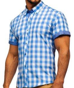 Camasa barbati in carouri cu maneca scurta albastru-deschis Bolf 6522