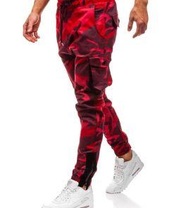Pantaloni joggers cargo pentru barbat camuflaj-rosii Bolf 0705