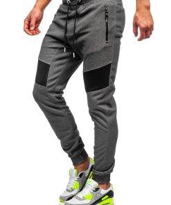 Pantaloni de trening grafit-alb barbati Bolf TC930