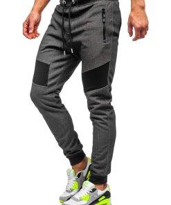 Pantaloni de trening negru-alb barbati Bolf TC930