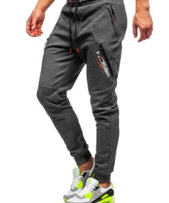 Pantaloni de trening grafit-portocaliu barbati Bolf Q1041