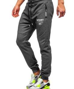 Pantaloni de trening grafit-alb Bolf Q1042