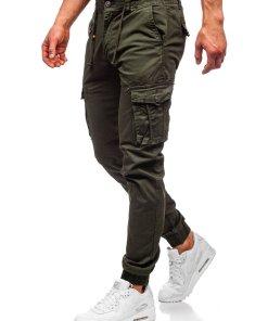 Pantaloni cargo joggers verde- inchis barbati Bolf CT6703