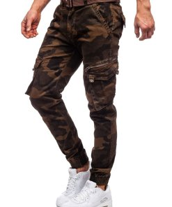 Pantaloni cargo military maro cu curea Bolf CT6013