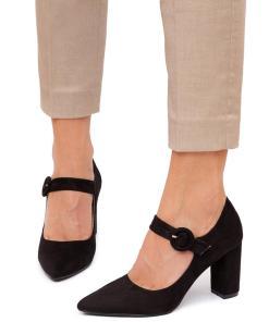 Pantofi dama Yancy cu aspect catifelat Negru