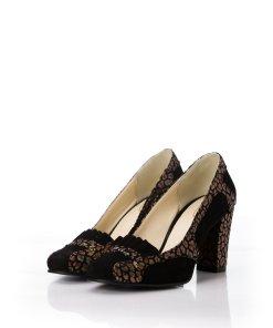 Pantofi negri din piele intoarsa cu imprimeu reflectorizant