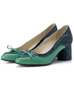 Pantofi verzi cu imprimeuri tip piele de sarpe