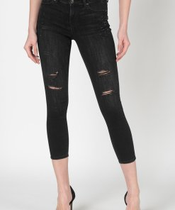 Blugi crop skinny cu rupturi decorative Carmen 2664443