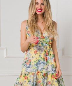Rochie Dori vaporoasa galbena cu trandafiri colorati