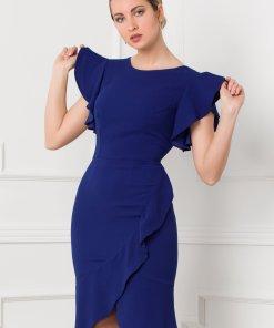 Rochie Moze albastra cu design petrecut si volane