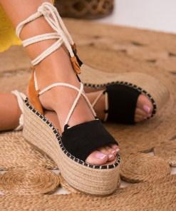 Sandale cu Platforma Piele Ecologica Intoarsa Negre Ophelia B8533