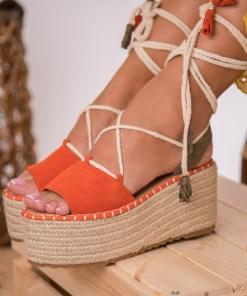 Sandale cu Platforma Piele Ecologica Intoarsa Portocalii Ophelia B8537