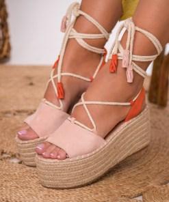 Sandale cu Platforma Piele Ecologica Intoarsa Roz Ophelia B8534