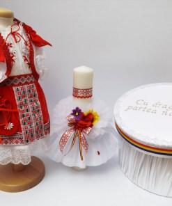 Set Traditional Botez - Costumas fetita Cutie pentru trusou Lumanare 4