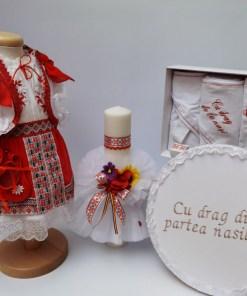 Set Traditional Botez - Costumas fetita Trusou Cutie pentru trusou Lumanare 2
