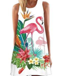 Rochie De Vara Cu Flamingo Chyril Alba