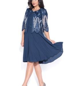 Costum cu rochie 9378 dantela bleumarin