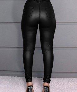Pantaloni Din Piele Si Curea Teri Negri