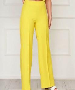 Pantaloni StarShinerS galbeni eleganti lungi evazati din stofa elastica