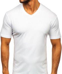 Tricou cu decolteu bărbați alb Bolf 192131