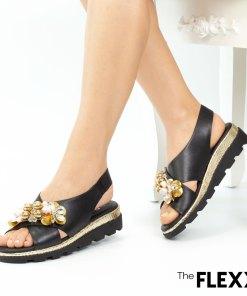 Sandale dama The Flexx din piele naturala Jewel Lynn negru