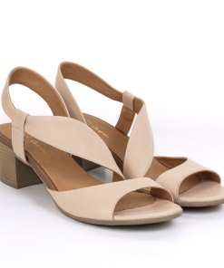 Sandale dama din piele naturala Vega roz pudrat