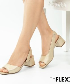 Sandale dama The Flexx din piele naturala Tokyo auriu