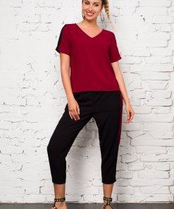 Compleu Ella Collection Valeria cu top bordo si pantaloni negri