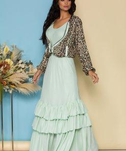 Compleu LaDonna by Catalin Botezatu cu rochie lunga vernil si hanorac animal print