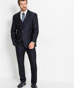 Costum 4 piese: sacou, pantaloni, vestă, cravată - albastru