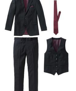 Costum 4 piese: sacou, pantaloni, vestă, cravată - negru