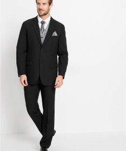 Costum bărbați (5piese): sacou, pantaloni, vestă, plastron, batistă buzunar - negru