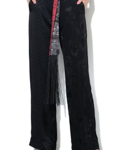 Pantaloni evazati din material terry - cu cordon in talie 2154973