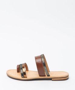 Papuci din piele si piele ecologica cu garnituri metalizate Sozy 2922307