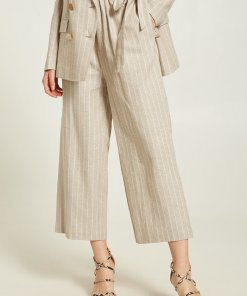 Pantaloni crop cu croiala ampla - din amestec de in 2842444
