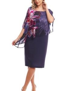Rochie eleganta bleumarin cu pelerina atasata din voal imprimat