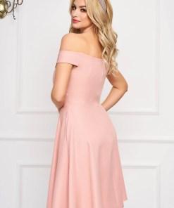 Rochie StarShinerS roz prafuit midi de ocazie din stofa usor elastica in clos cu umeri goi