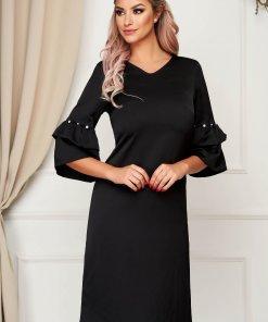 Rochie SunShine neagra eleganta cu croi in a cu maneci clopot cu aplicatii cu perle