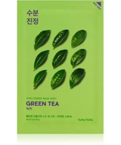 Holika Holika Pure Essence Green Tea mască textilă de îngrijire pentru piele sensibila si inrosita HLKPUEW_KMSK35