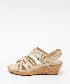 Sandale din piele cu tapla wedge cu aspect de pluta Whittier 2752246